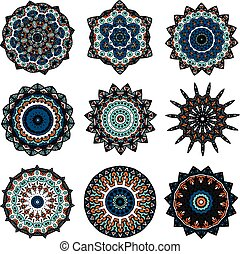 Set of mandalas in indian style. - Drawing of a nine...