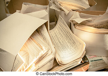 Dirty messy paper documents as background closeup