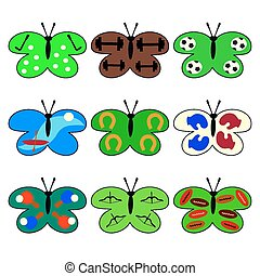Set of butterflies with sport icons - Set of butterflies...