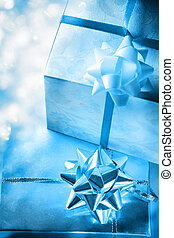 Gift boxes with bow on white background