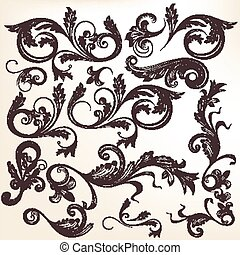 Collection of vector hand drawn sw - Vector set of swirl...