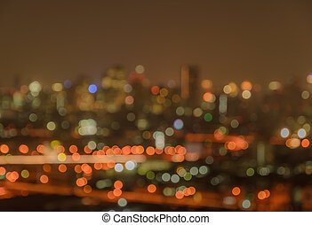 Blurred bokeh city lights background - Blurred city lights...