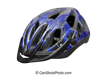 bike helmet - Blue bike helmet under the light background