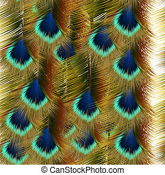 Fashion seamless pattern with colorful peacock feathers -...