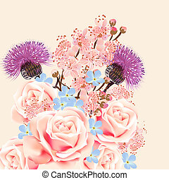 Floral background with flowers and roses