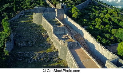 Ston west wall tower, aerial - Copter aerial view of the...