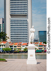 Sir Stamford Raffles statue on Clark Quay in Singapore with...
