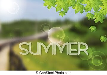 Bright green summer landscape vector design
