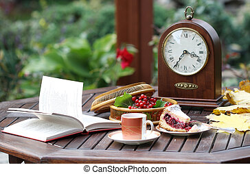 Time for tea - Time For Tea. Still life with a clock