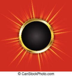 Golden circle and beams on red background Vector design