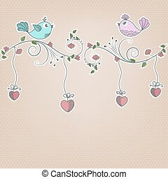 Two birds on a branch with flowers