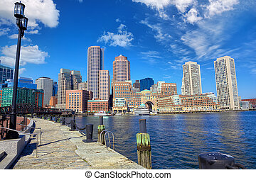 Boston Harbor and Financial District, Massachusetts, United...