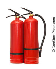 Fire extinguishers - New blank red fire extinguishers in...