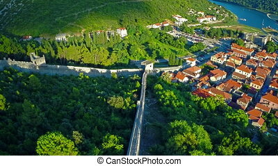 Ston east wall, aerial - Copter aerial view of the Ston...