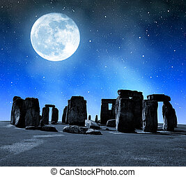 histórico, monumento, Stonehenge,