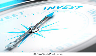 Invest Concept - Conceptual Compass with needle pointing to...
