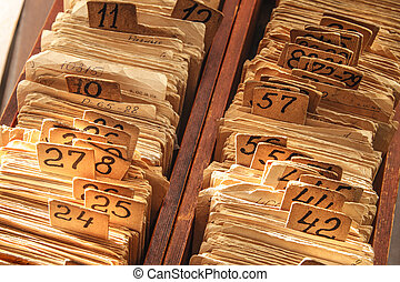 Old cards index catalog with numbers in toning