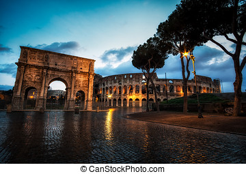 Colosseum and Constantine Arch at Night with the light...