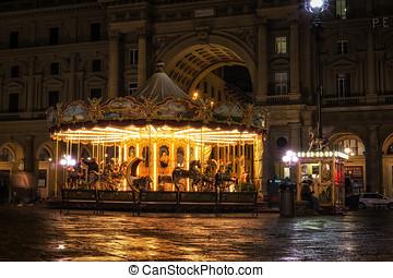 Merry go round in Piazza repubblica