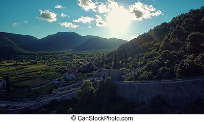 Ston sun shine on west, aerial - Copter aerial view of the...