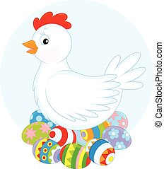 Hen and Easter eggs - White hen sitting on painted Easter...