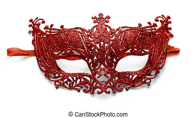 Carnival mask - Red lacy carnival mask on white background