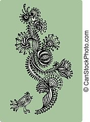 Decorative floral pattern with birds, hand-drawing. Vector illus