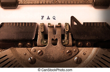 Vintage inscription made by old typewriter, FAQ