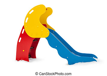 Single small playground slide in three colors