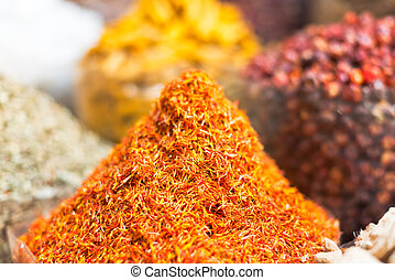 Spices and herbs souk in Dubai - Dried herbs, flowers ,...