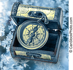Vintage compass in box - Close up view of vintage compass in...