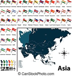 Political map of Asia - Vector of political map of Asia set...