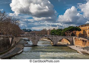 Stone bridge Pons Cestius - Roman stone bridge Pons Cestius...