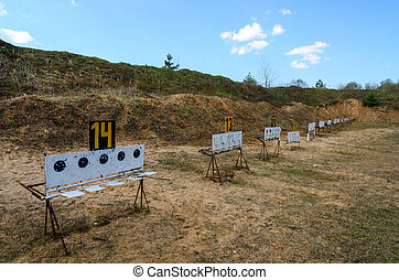 Old biathlon shooting range in the district center in April
