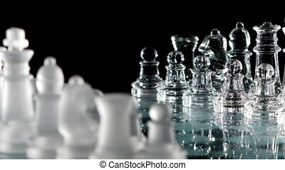 Chess pieces, ready to play Black background Rotation cam