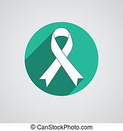 Breast cancer awareness white ribbon on white background -...