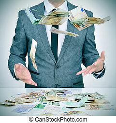 dinero, cielo, coger, Caer, Tratar, hombre