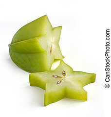 Carambole - starfruit on white background