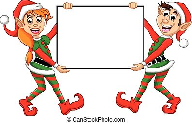 Christmas elf posing with board - vector illustration of...