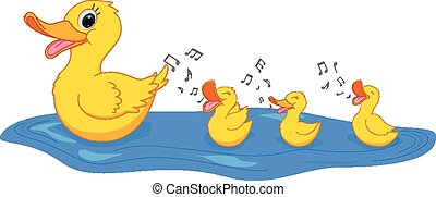 Happy Mother duck swimming