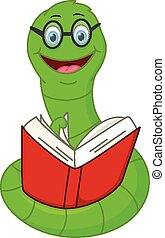 Happy worm cartoon reading book - Vector Illustration of...