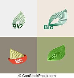 Bio logo green leaves.