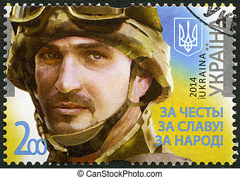 UKRAINE - 2014: shows portrait of soldier with the call sign...