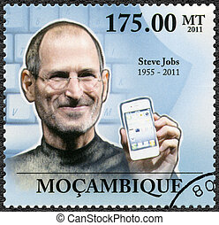 MOZAMBIQUE - 2011: shows portrait of Steve Jobs (1955-2011)...