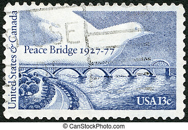 UNITED STATES OF AMERICA - 1977: shows Peace Bridge and...