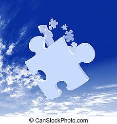 Falling Puzzle Pieces - 3D Illustration Puzzle Pieces...