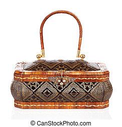 Thai handicraft elegance woman basketry on white background...
