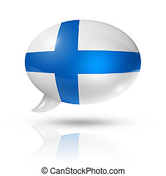 Finnish flag speech bubble - three dimensional Finland flag...