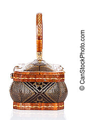 Thai handicraft elegance woman basketry on white background...