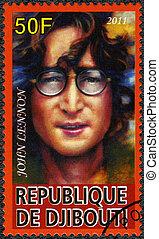 DJIBOUTI - 2011: shows John Ono Lennon, a singer - DJIBOUTI...